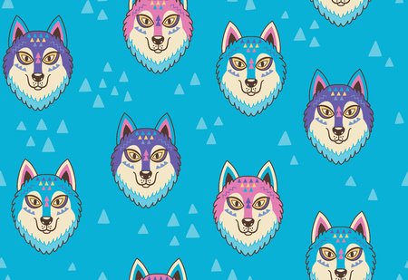 Husky or wolf seamless pattern in blue and pink colors. Vector illustration