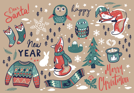 Christmas set with winter elements and text in cartoon style. Fox and owls, sweater and scarf, coffee and socks. Lovely vector illustration for meeting New year and Christmas.