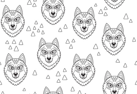 Black and white seamless pattern with huskys or wolves in tribal style. Simple graphic endless background. Ideal for coloring print