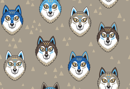 Naadloos patroon met huskys of wolven in stammenstijl. Vector illustratie