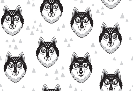 Seamless pattern with huskys or wolves in tribal style. Black and white vector illustration Illustration