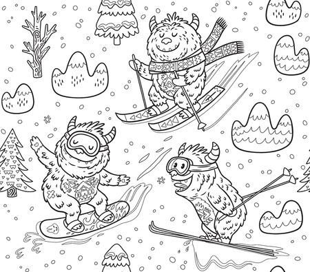 Modèle sans couture d'encre avec amusement yeti snowboard et ski dans la montagne. Illustration vectorielle mignon dessinés à la main dans le style de bande dessinée. Idéal pour l'impression à colorier Banque d'images - 89758588