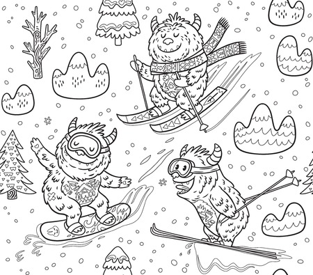 Ink seamless pattern with fun yeti snowboarding and skiing in the mountain. Cute hand drawn vector illustration in cartoon style. Ideal for coloring print Illustration