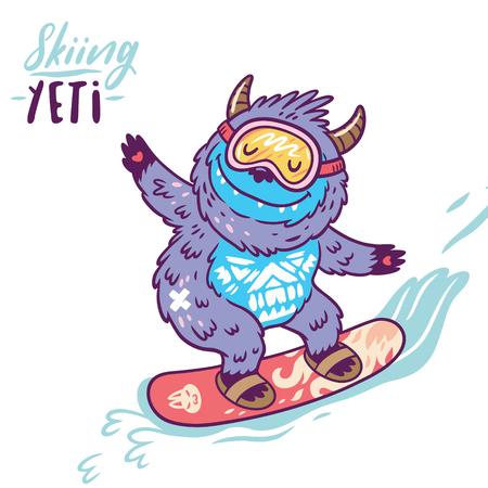 Fun yeti snowboarding. Cute cartoon character monster. T shirt graphics, extreme print, sport. Stock Illustratie