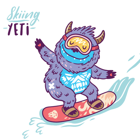 Fun yeti snowboarding. Cute cartoon character monster. T shirt graphics, extreme print, sport. Illustration