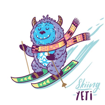 Fun Yeti ski. Monstre de personnage de dessin animé mignon. Graphiques T-shirt, impression extrême, sport. Banque d'images - 89758634
