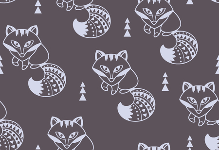 Vector polar ethnic fox seamless pattern Illustration