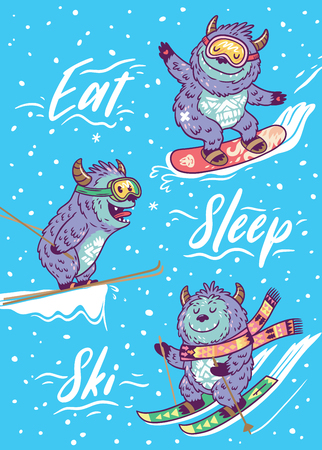 Eat, sleep, ski. Winter card with Yetis on snowboard and skiing. Cute hand drawn vector illustration in cartoon style.