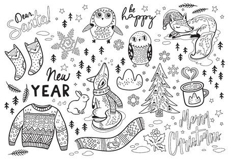 親愛なる、サンタ。冬の要素とアウトライン テキストを年賀状。素敵なフォックスとフクロウ、暖かいスカーフ、セーター。着色の印刷に最適 写真素材