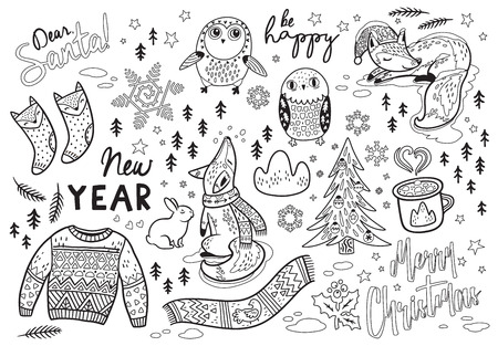 Dear, Santa. New Year card with winter elements and text in outline. Lovely fox and owl, warm scarf and sweater. Ideal for coloring print