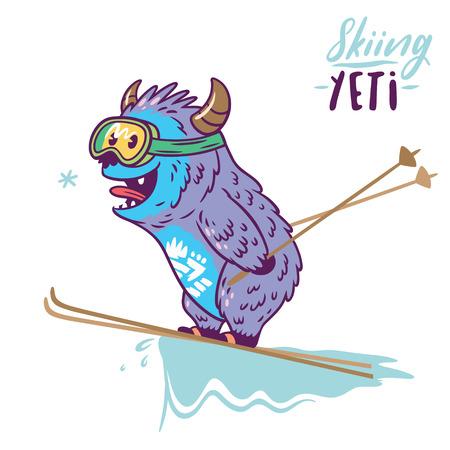 재미있는 스키. 귀여운 만화 캐릭터 괴물입니다. 티셔츠 그래픽, 익스트림 프린트, 스포츠.