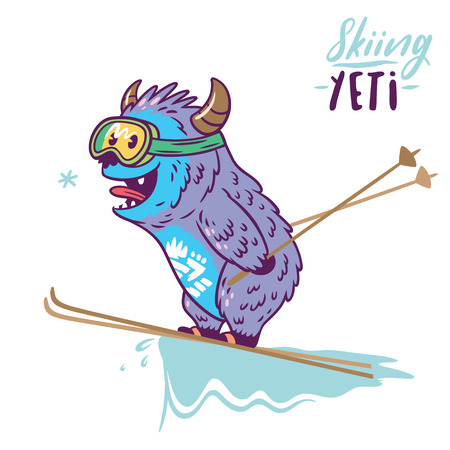 Spaß Yeti Skifahren. Niedliches Zeichentrickfigur Monster. T-Shirt-Grafik, extremer Druck, Sport. Standard-Bild - 89835678