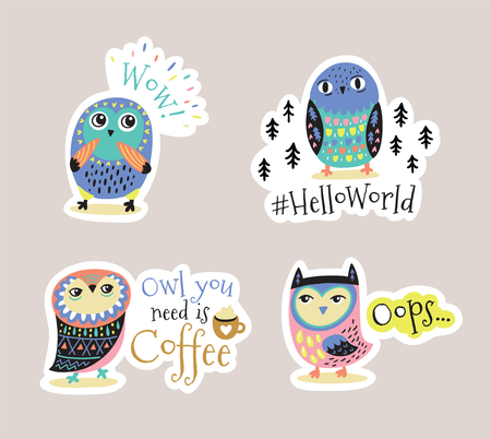 Cute sickers and patches with owls. Owl you need is coffee. Vector illustration