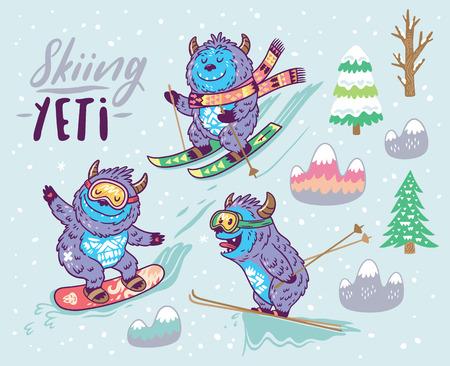 Collection avec amusement yeti snowboard et ski dans la montagne. Illustration vectorielle mignon dessinés à la main dans le style de bande dessinée. Banque d'images - 89818481