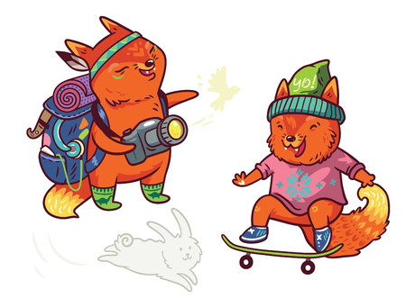 Set of two cute baby fox characters in cartoon style vector illustration Illustration