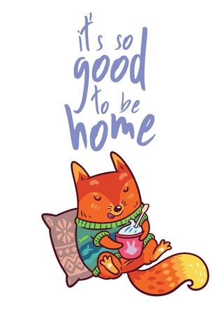 Baby fox with coffee or cup of tea Funny vector kids illustration Imagens - 92656258