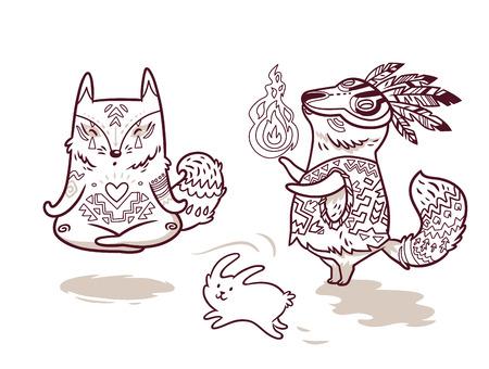 Contour set van twee schattige baby vos tekens in cartoon-stijl. Yogameditatie in lotus houding en sjamaan met vuur. Perfect voor het kleuren van afdrukken