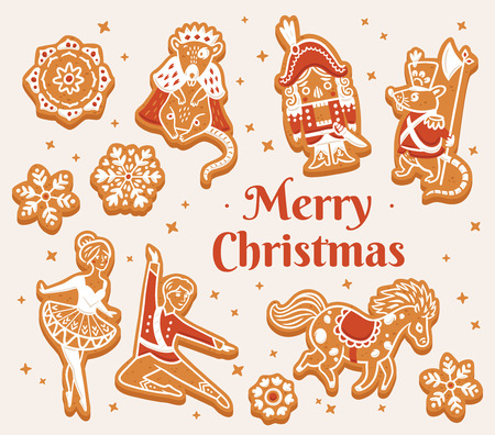 Merry Christmas card with gingerbread cookies - Nutcracker characters. Winter holiday vector design print Illustration