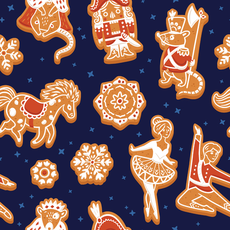 Nutcracker seamless pattern. Fairy tale background with vector hand drawn gingerbread. Christmas cookies. Holiday repeating texture for surface design, wallpapers, fabrics, wrapping paper etc.