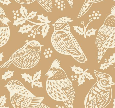Motif de Noël sans couture vintage avec oiseaux d'ornement et gui en couleurs or. Parfait pour le papier peint de vacances, papier cadeau, motifs de remplissage. Illustration vectorielle
