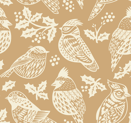 Vintage seamless Christmas pattern with ornamental birds and mistletoe in gold colors. Perfect for holidays wallpaper, gift paper, pattern fills. Vector illustration