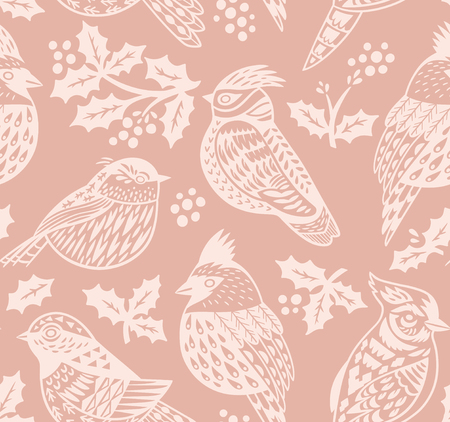 Vintage seamless Christmas pattern with ornamental birds and mistletoe in pastel colors. Perfect for holidays wallpaper, gift paper, pattern fills. Vector illustration