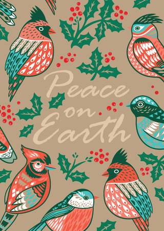 peace on earth christmas card with decorative birds and mistletoe in vintage style stock vector - Peace On Earth Christmas Cards