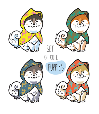 Set of four cute siberian husky puppies in colorful raincoats. Vector illustration