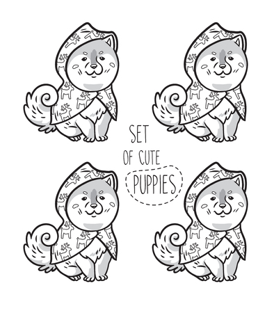 Black and white contours siberian husky puppies in raincoats. Perfect for coloring print