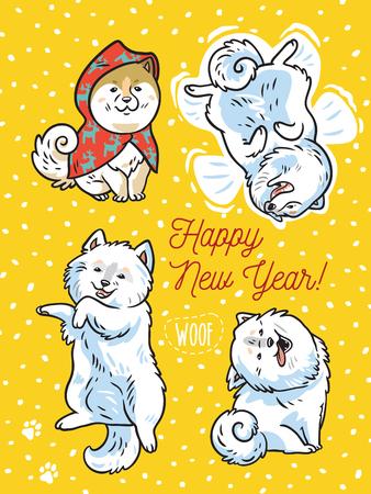 明けましておめでとう。ホリデーはがき4つの面白い子犬が雪の中で遊びます。ベクトルイラスト  イラスト・ベクター素材
