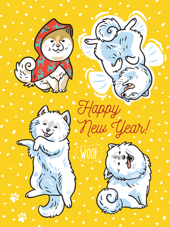 Happy New Year. Holiday postcard. Four funny puppies play in the snow. Vector illustration Vettoriali