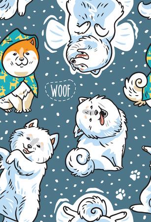 雪の中で幸せなシベリアハスキーとサモイド子犬とシームレスなパターン。ベクトルイラスト