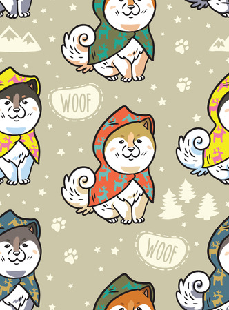 Seamless pattern with cute siberian husky puppies in colorful raincoats. Different breeds of dogs. Akita inu, shiba inu, malamute isolated on beige background