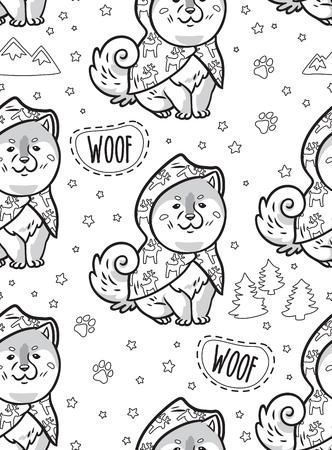 レインコートでかわいいシベリアハスキー子犬と黒と白のシームレスな輪郭パターン。犬の異なる品種:秋田犬、芝犬、マラミュート。着色プリント
