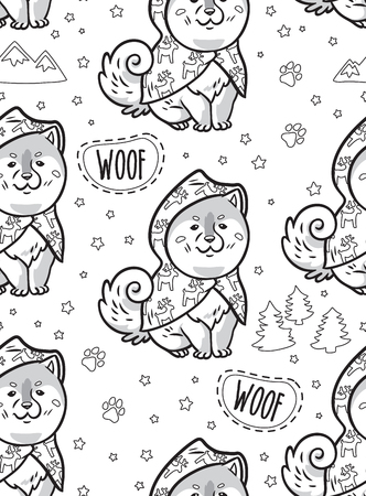 Black and white seamless contours pattern with cute siberian husky puppies in raincoats. Different breeds of dogs: akita inu, shiba inu, malamute. Perfect for coloring print