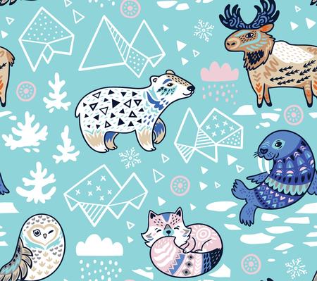 파란색 색상 북극 동물 원활한 패턴입니다. 벡터 일러스트 레이 션. 일러스트