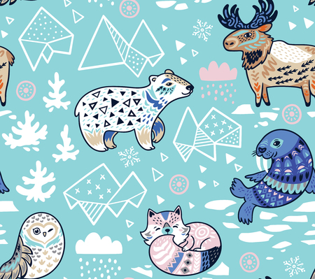 Arctic animals seamless pattern in blue colors. Vector illustration.