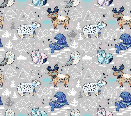 Polar animals seamless pattern in gray and blue colors. Antarctica polar wild life decorative background. Vector illustration. Illustration