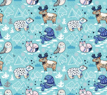 Polar animals seamless pattern in blue colors. Antarctica polar wild life decorative background. Vector illustration.