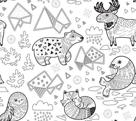 Polar animals seamless pattern in contour. Antarctica polar wild life decorative background in ink style. Vector illustration. Stock Illustratie
