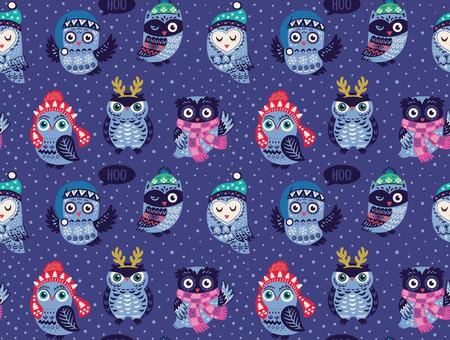Kerst naadloze patroon met schattige uilen in gebreide mutsen, sjaals en rendieren gewei. Vector illustratie. Stijlvol grafisch ontwerp in retro vintage kleuren. Stock Illustratie