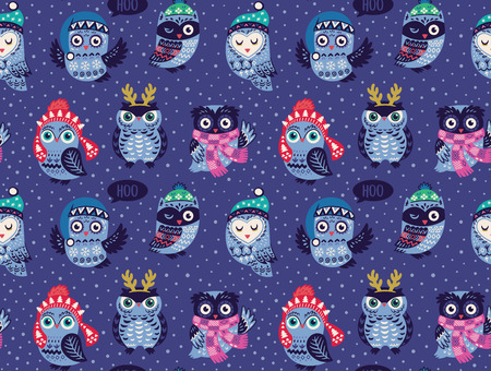 Christmas seamless pattern with cute owls in knitted hats, scarves and reindeer antlers. Vector illustration. Stylish graphic design in retro vintage colors.