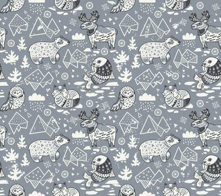 Polar animals seamless pattern isolated on gray background Stock Illustratie
