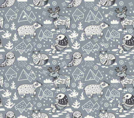 Polar animals seamless pattern isolated on gray background Stock Illustratie
