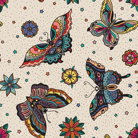 Seamless pattern with colorful butterflies in traditional tattoo flash style. Vector art