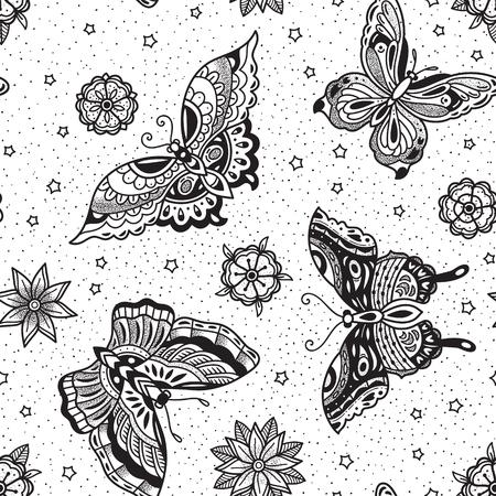 Modello senza cuciture con farfalle nel tatuaggio tradizionale ideale per la stampa da colorare Archivio Fotografico - 93232800