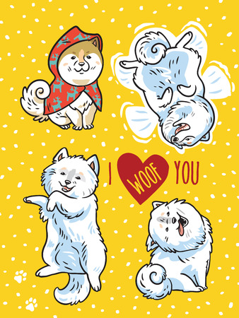 I love you greeting postcard vector Illustration can be used as print or card Ilustrace