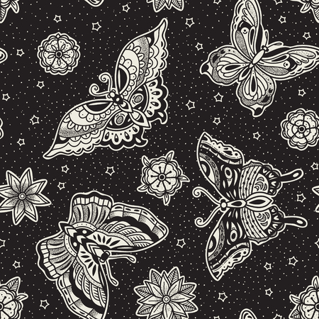 Seamless pattern with butterflies vector art