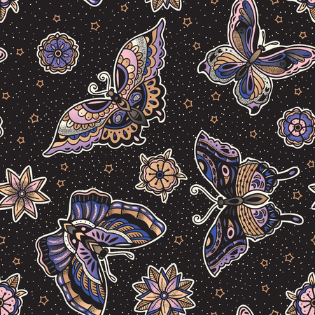 Seamless pattern with butterflies in traditional tattoo flash style isolated on black background. Vector art