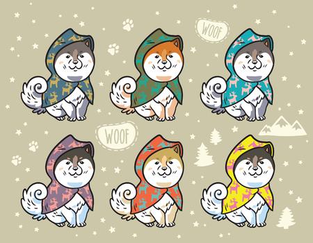 カラフルなレインコートを着たハスキーの子犬。漫画ベクトルイラスト